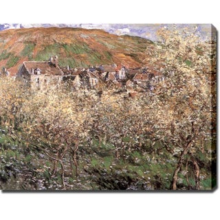 Claude Monet 'Plum Trees in Blossom at Vetheuil' Oil on Canvas Art