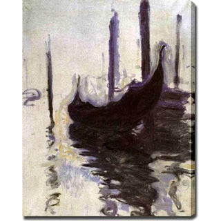 Claude Monet 'Gondolas' Oil on Canvas Art