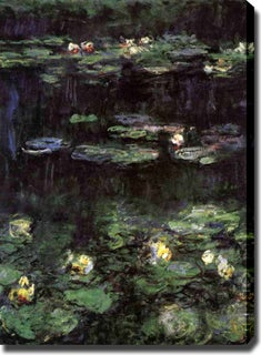 Claude Monet 'Water Lilies, Green Reflection' Oil on Canvas Art