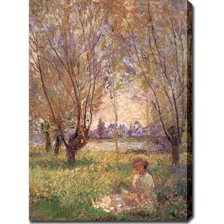 Claude Monet 'Woman Under the Willows' Oil on Canvas Art