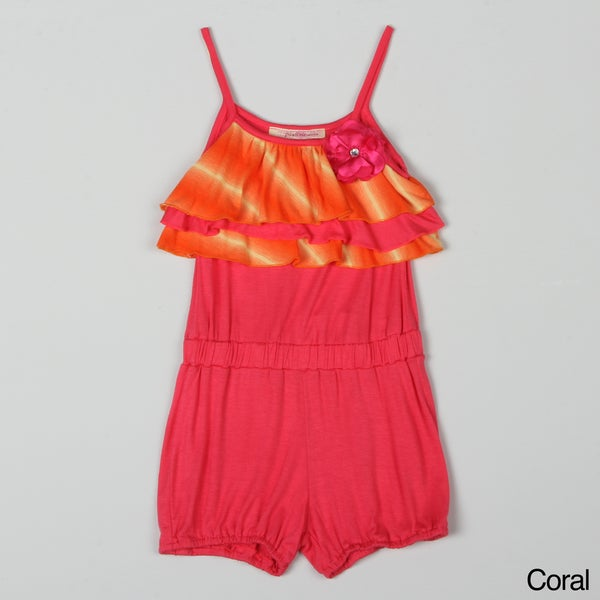 Paulinie Collection Girl's Ruffle-top Romper