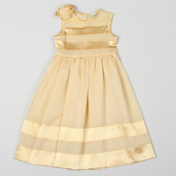 Paulinie Collection Girl's Gold Chiffon Maxi Dress