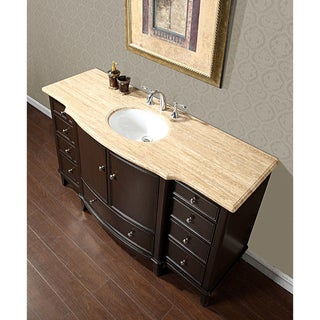 Silkroad Travertine Stone Top 60-inch Dark Walnut Bathroom Single Sink Vanity