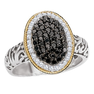 18k Gold/Silver 3/4ct TDW Black and White Pave Oval Diamond Ring