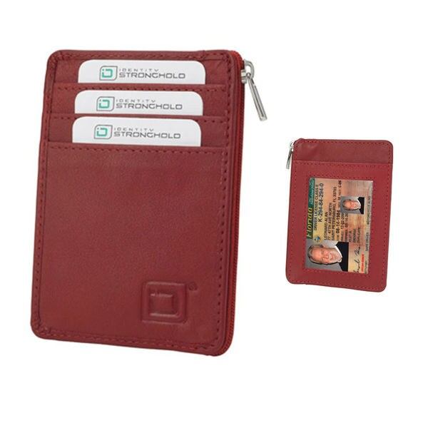 Identity Stronghold Red Leather RFID Blocking Mini Wallet