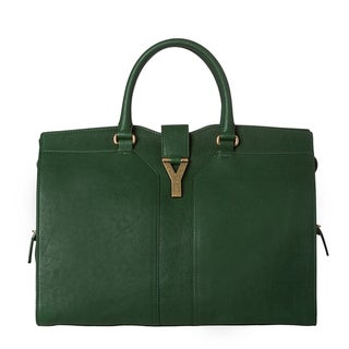 Yves Saint Laurent 'Cabas ChYc' Emerald Leather Tote Bag