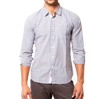 191 Unlimited Men's Slim Grey Check Print Woven Shirt