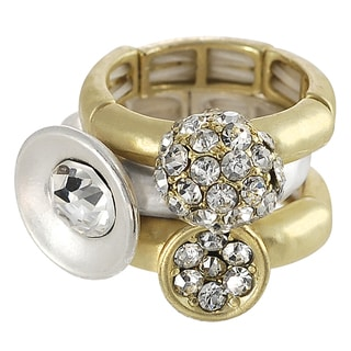 Journee Collection Silvertone and Goldtone Stackable Stretch Ring Set