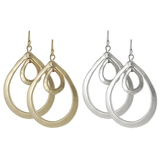 Journee Collection Plated Hoop Dangle Earrings