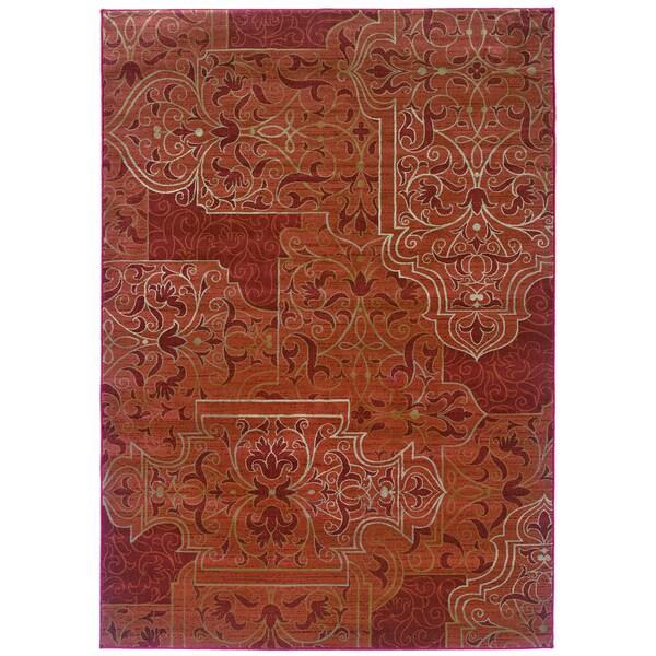 Somette Millennium Scrollwork Mahogany Area Rug (9' x 12'2)