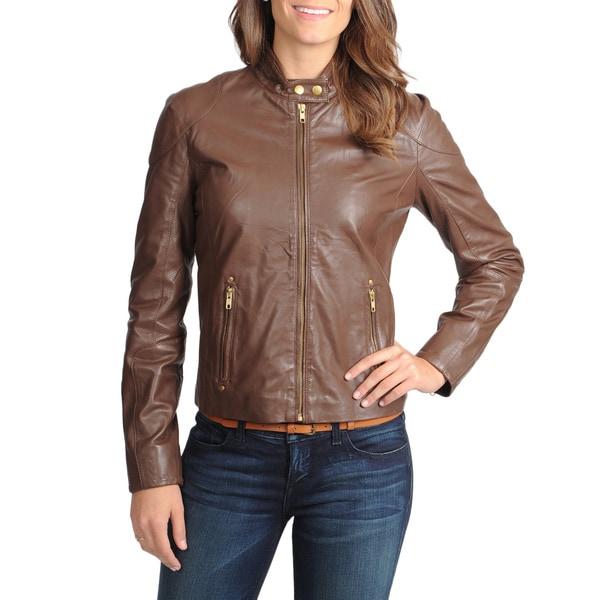 Vince Camuto Women's Chocolate Napa Lamb Leather Jacket