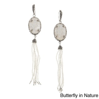 Madison Sterling Silver Mother of Pearl Earrings with Pearl Tassel Drop