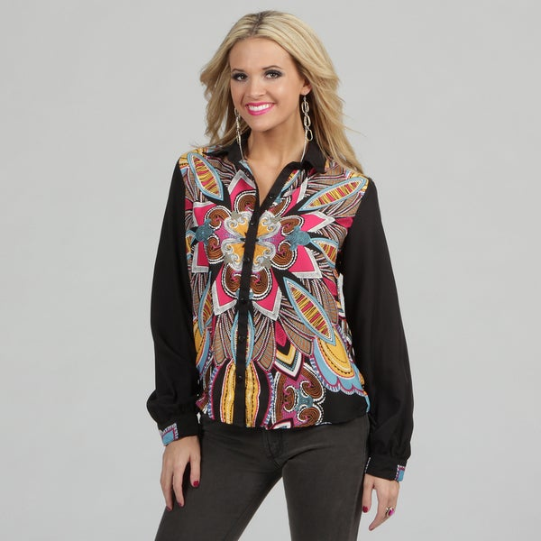 Angie Women's Button-down Multi-colored Printed Top