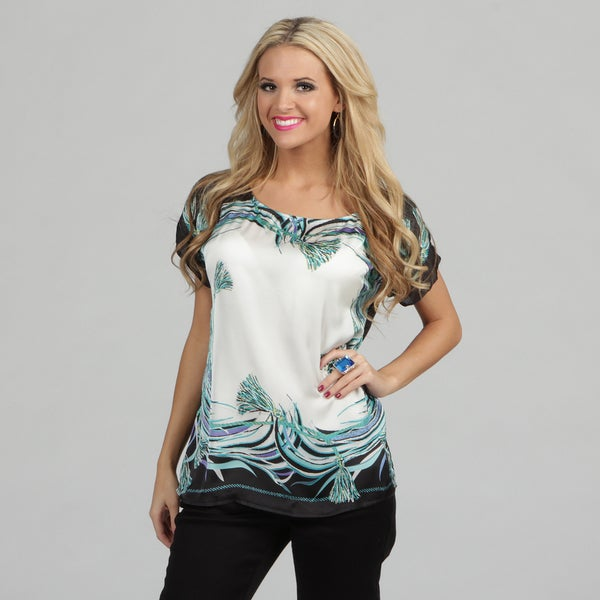 Violet and Claire Women's 'Mirror Image' Printed Top