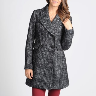 Ivanka Trump Women's Black/ White Wool Peacoat