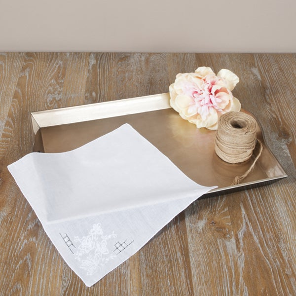 Saro White Embroidered Handkerchiefs (Set of 12)