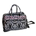 Jenni Chan Damask Black/Pink 20-inch Carry On Rolling Upright Soft Duffel Bag