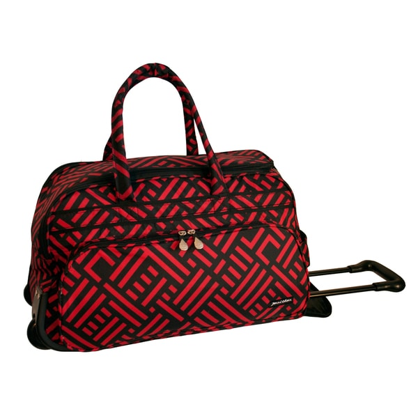 Jenni Chan Red/Black 20-inch Carry On Rolling Upright Soft Duffel Bag
