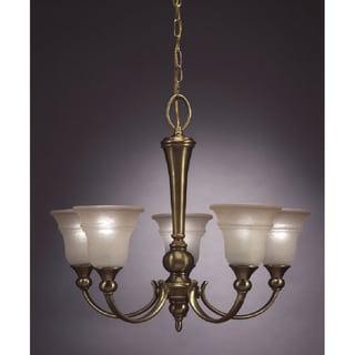 Transitional 5 light Chandelier in Antique Brass