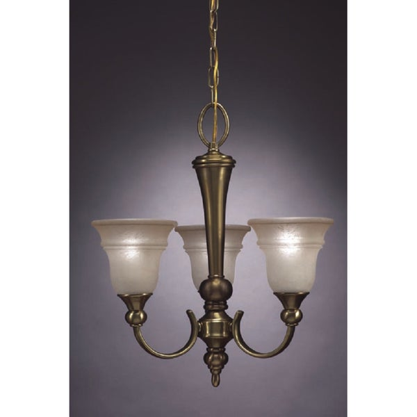 Transitional 3 light Chandelier in Antique Brass