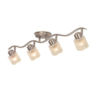 Contemporary Brushed Nickel 4-light Semi-flush Rail Fixture