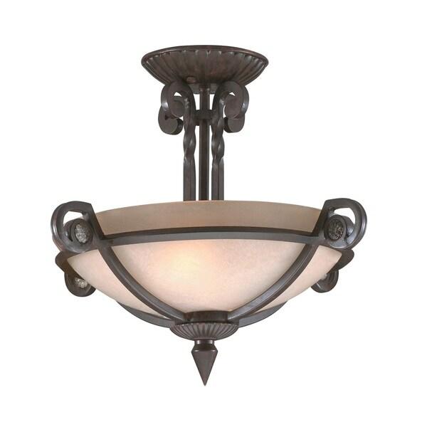Transitional Tannery Bronze 2-light Semi-flush Fixture