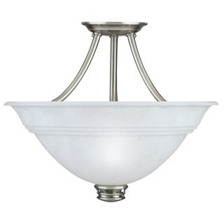 Transitional Antique Pewter 3-light Semi-flush Fixture