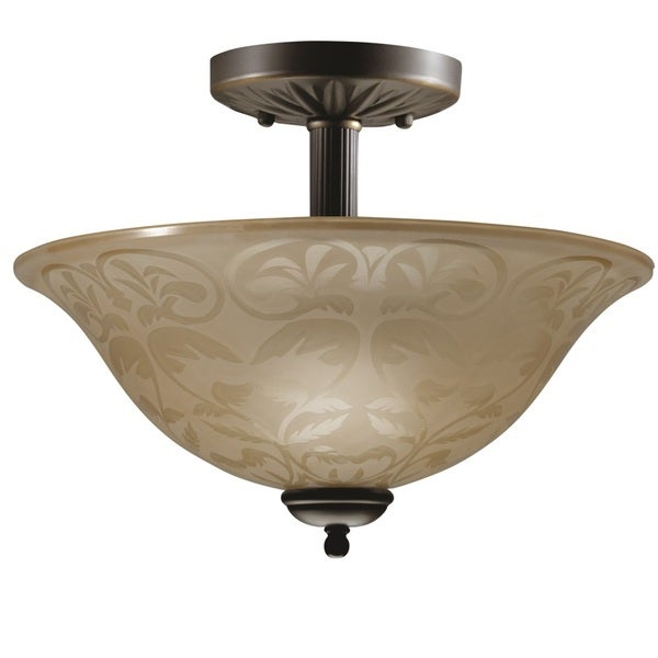 Transitional Olde Bronze 2-light Semi-flush Fixture