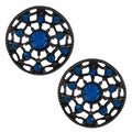 KC Signatures Black-plated Blue Austrian Crystal Earrings