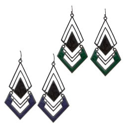 Black-plated Colored Enamel Diamond-shaped Link Earrings