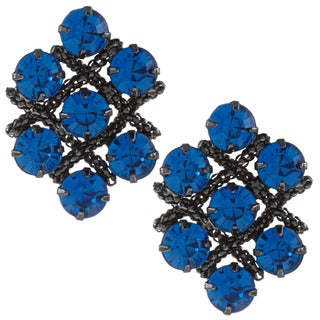 Black-plated Cobalt Blue Austrian Crystal Cluster Earrings