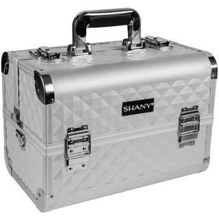 Shany Premium Collection Silver Diamond Makeup Train Case