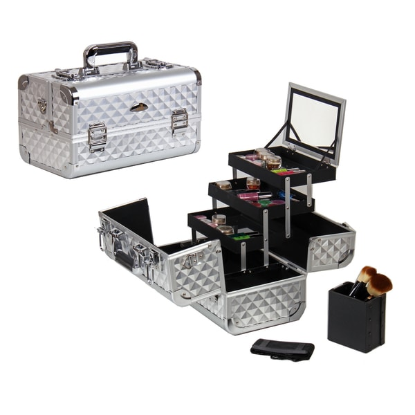 Shany Cosmetics Premium Collection Silver Diamond Makeup Train Case ...