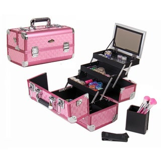 Shany Premium Collection Hot Pink Diamond Makeup Train Case