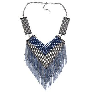 KC Signatures Silvertone Blue Austrian Crystal V-shaped Bib Necklace