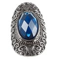 KC Signatures Silvertone Cobalt Blue Austrian Crystal Stretch Ring