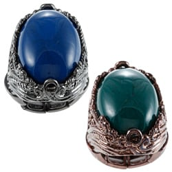 KC Signatures Silvertone Oval-cut Resin Cabochon Stretch Ring