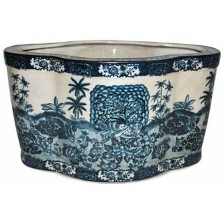 Blue Paradise Oval Porcelain Planter