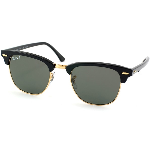 Ray-Ban Unisex RB 3016 Clubmaster Black/ Gold Polarized Sunglasses