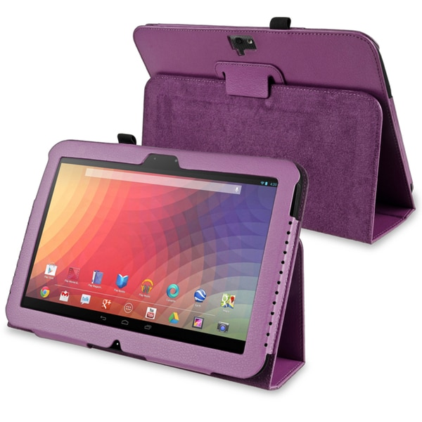 INSTEN Purple Leather Phone Case Cover with Stand for Google Nexus 10
