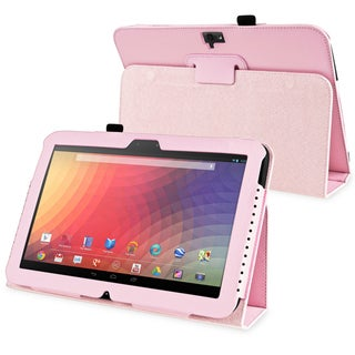 BasAcc Pink Leather Case with Stand for Google Nexus 10