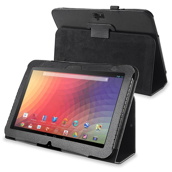 BasAcc Black Leather Case with Stand for Google Nexus 10