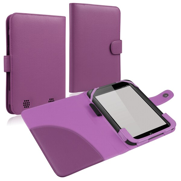 INSTEN Purple Leather Phone Case Cover for Barnes & Noble Nook HD