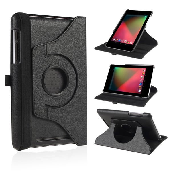 BasAcc Black Version 2 Leather Swivel Case for Google Nexus 7