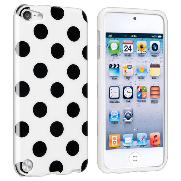 Insten White Polka Dots TPU Rubber Candy Skin Glossy Case Cover For Apple iPod Touch 5th/ 6th Gen