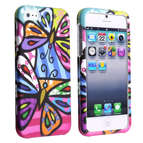 BasAcc Rainbow Butterflies Rubber Coated Case for Apple iPhone 5
