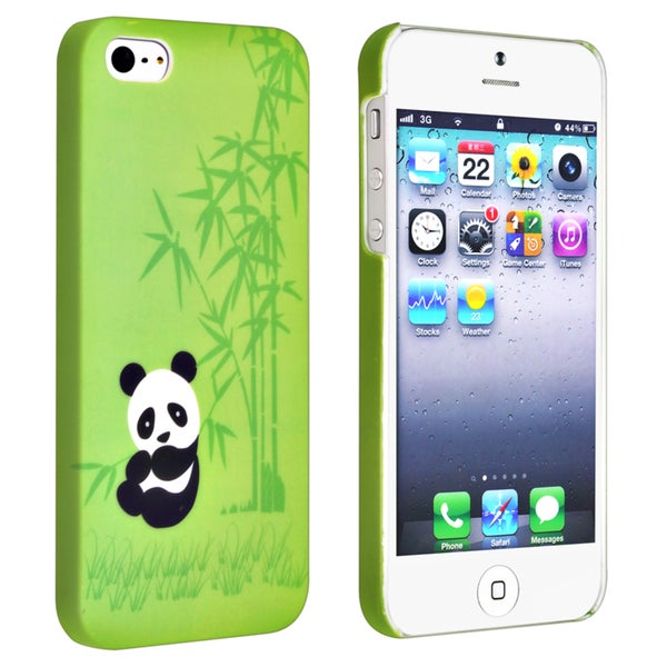 INSTEN Green Panda Rear Snap-on Rubber Coated Phone Case Cover for Apple iPhone 5/ 5S