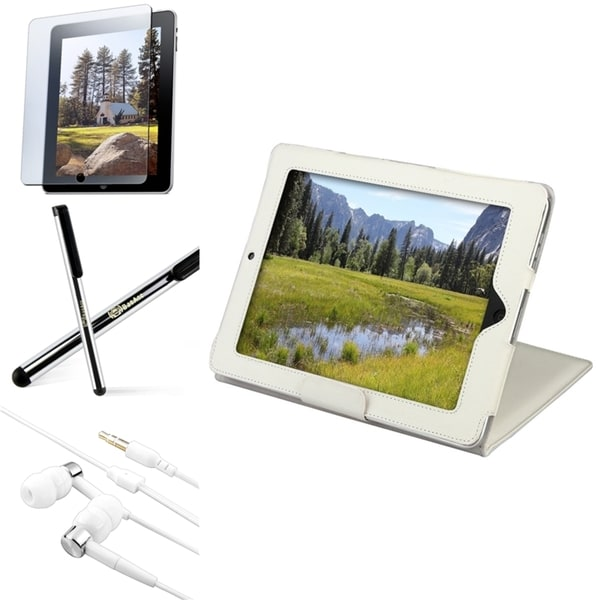INSTEN White Leather Tablet Case Cover/ Protector/ Stylus/ Headset for Apple iPad 1