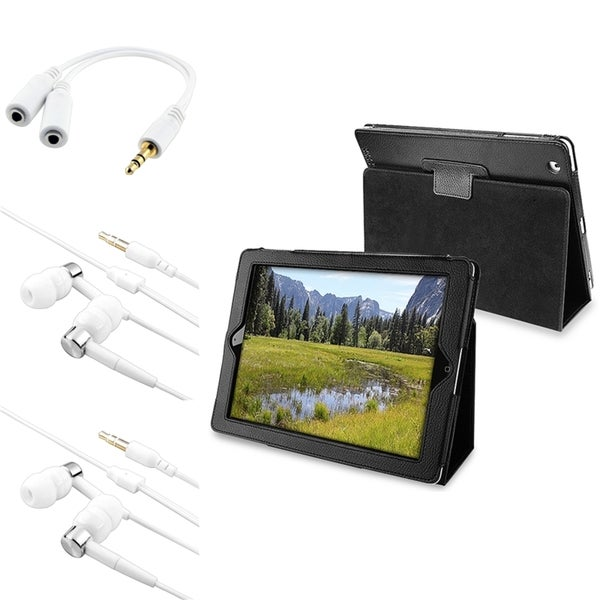 INSTEN Black Leather Tablet Case Cover/ Headset/ Headset Splitter for Apple iPad 2