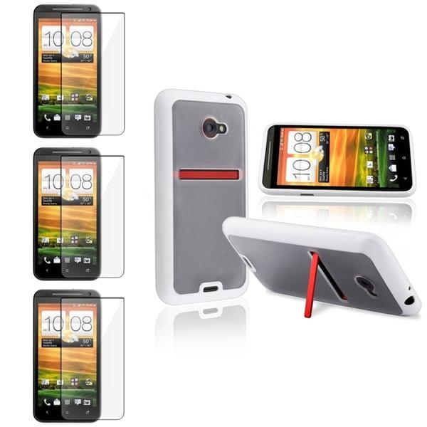 INSTEN Clear/ White Trim TPU Phone Case Cover/ Screen Protector for HTC EVO 4G LTE